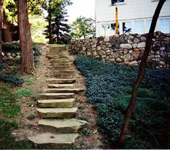 Stone stairway and retaining wall